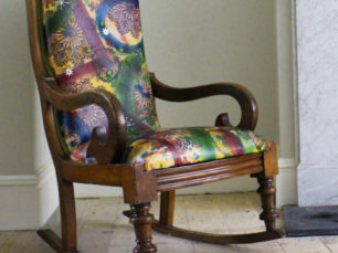 Hand dyed leather rocking chair